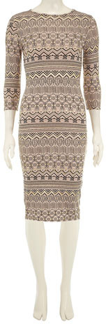 Dorothy Perkins Mocha 3/4 sleeve midi dress