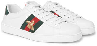 Gucci Ace Watersnake-trimmed Embroidered Leather Sneakers - White