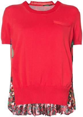 Sacai pleated back floral T-shirt