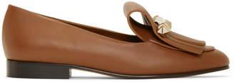 Valentino Brown Garavani Uptown Fringe Loafers