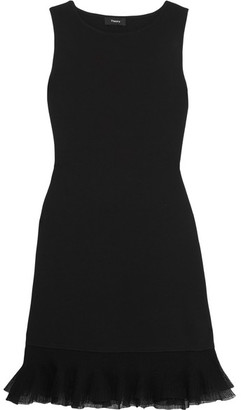 Theory - Torylevina Ruffled Mesh-trimmed Jersey Mini Dress - Black $335 thestylecure.com