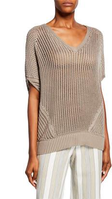 Lafayette 148 New York Mixed V-Neck Stitch Sweater