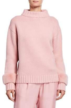 Sally LaPointe Fur-Trim Wool-Cashmere Mock-Neck Sweater