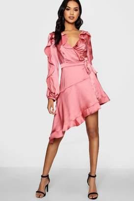 boohoo Boutique Satin Ruffle Asymmetric Dress