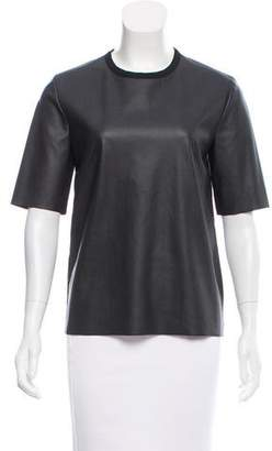 Cédric Charlier Faux Leather Short Sleeve Top
