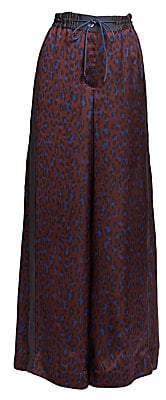 Sacai Women's Satin Leopard-Print Wide Leg Pants