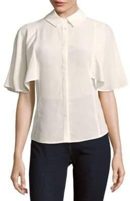 Meryl Cape-Sleeve Silk Blouse