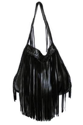 Areias Leather Black Fringe Bag