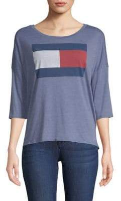 Tommy Hilfiger Logo Quarter-Sleeve Top