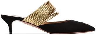 Aquazzura black and metallic gold new rendezvous 45 suede leather mules