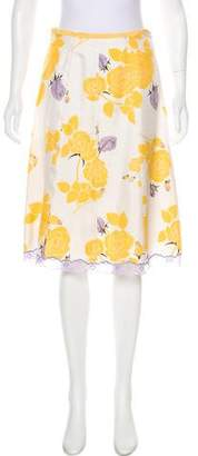 Perry Ellis Silk Knee-Length Skirt
