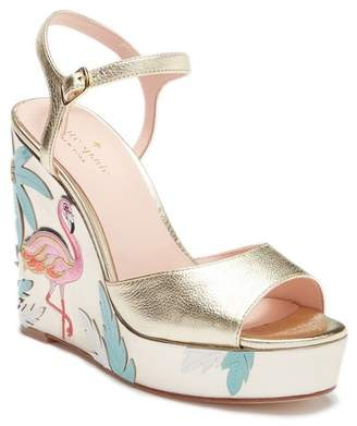 Kate Spade Darie Embroidered Metallic Leather Wedge