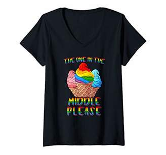 The One Womens In The Middle Rainbow LGBT Lesbian Gay Pride V-Neck T-Shirt