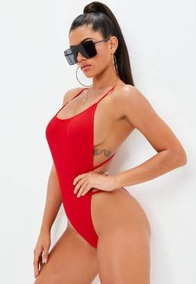 Missguided Ribbed Extreme High Leg Cross Back Swimsuit