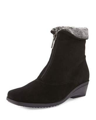 La Canadienne Evitta Faux-Fur Demi-Wedge Boot, Black $350 thestylecure.com