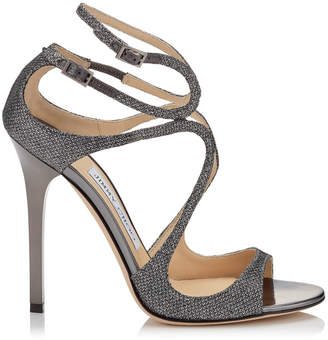 Jimmy Choo LANCE Anthracite Lame Glitter Sandals