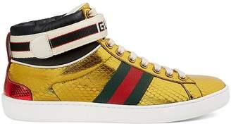 Gucci Women's New Ace Metallic Snakeskin Sneakers
