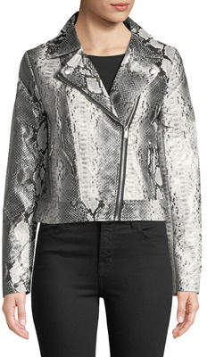 Bagatelle Snake-Print Faux Leather Biker Jacket