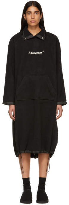 ADER error Black Oversized Cozy One-Piece Dress