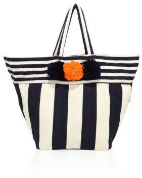 JADEtribe Valerie Striped Beach Pom-Pom Tote $160 thestylecure.com