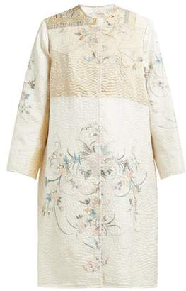 By Walid Tanita Peacock Embroidered 19th Century Silk Coat - Womens - Yellow Multi