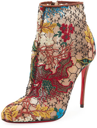 Christian Louboutin Miss Tennis Embroidered Lace Red Sole Bootie, Brown $995 thestylecure.com