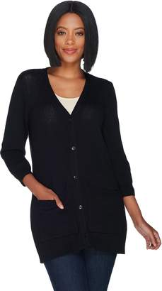 5d80dc395e 3 4 Sleeve Button Front Cardigan with Pockets