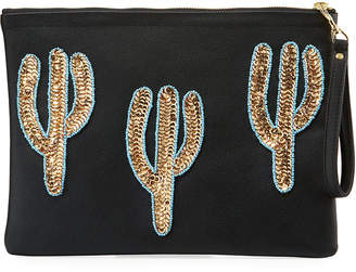 Tea & Tequila Trio Gold Cacti Clutch Bag, Black