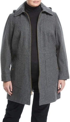 MICHAEL Michael Kors Zip-Front A-Line Wool-Blend Coat
