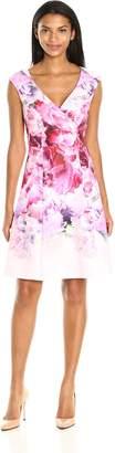 Adrianna Papell Women's Peony Cloud Printed Scuba Surplus Fit Flare, Pink/Multi