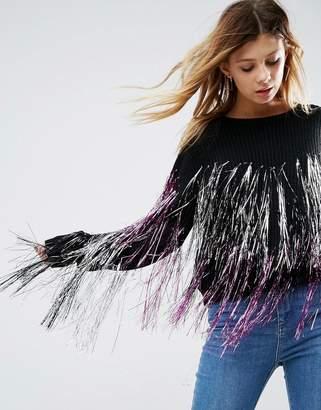 Asos DESIGN Sweater with Metallic Fringe Detail