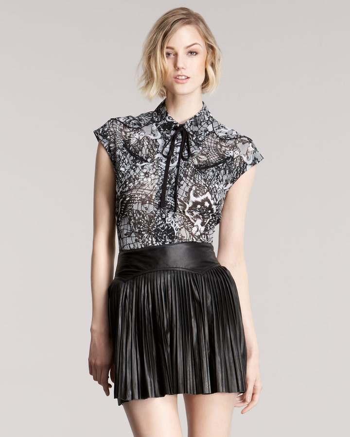 McQ Pleated Leather Skirt