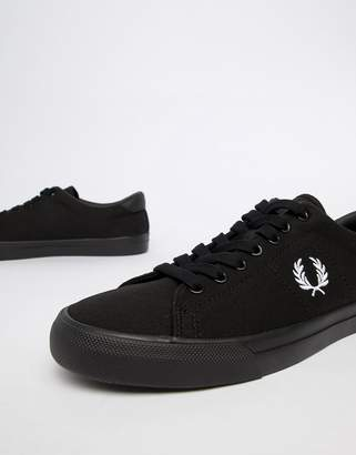Fred Perry underpsin twill sneakers in black