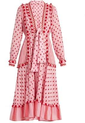 Dodo Bar Or - Padma Polka Dot Cotton Midi Dress - Womens - Pink
