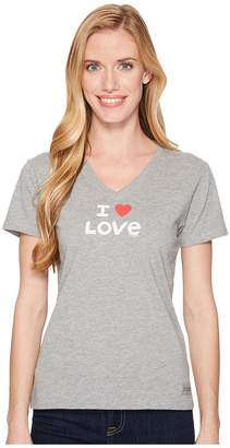 Life is Good I Heart Love Crusher Vee Women's T Shirt