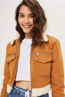Topshop PETITE Cropped Denim Borg Jacket