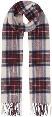 Harrods Fringed Check Wool Scarf