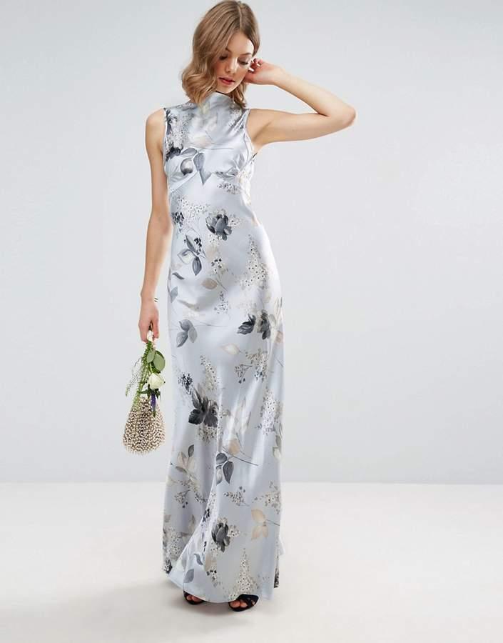 AsosASOS WEDDING 40s Seamed Maxi Dress in Silver Rose Print