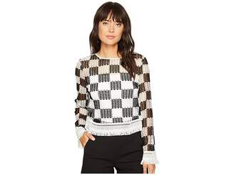 Nicole Miller Checkerboard Breezy Pullover Women's Clothing
