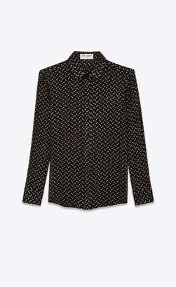 Saint Laurent Shirt In Silk Crepon With Lame Polka Dots