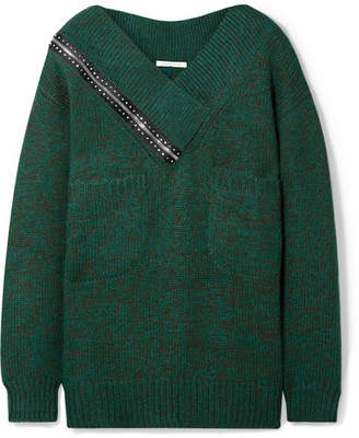 Christopher Kane Oversized Cutout Crystal-embellished Knitted Sweater - Emerald