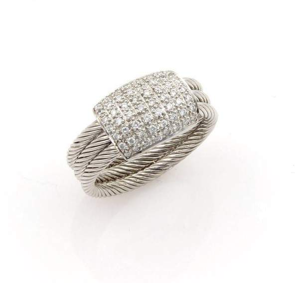 Charriol Charriol Flamme Blanche 18K White Gold & Diamonds Cable Ring Size: 5.5
