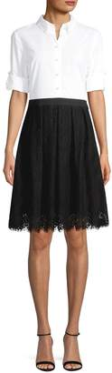 Karl Lagerfeld Paris Contrast Lace-Hem Shirt Dress