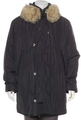 Louis Vuitton Fur & Shearling-Trimmed Lightweight Leather-Trimmed Parka