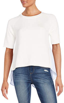 French Connection Solid Ribbed Roundneck Top