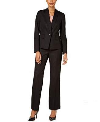 Le Suit Women's Petite Pinstripe 1 Button Shawl Collar Pant Suit with Cami