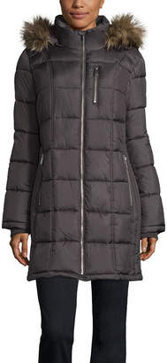 Liz Claiborne Woven Water Resistant Heavyweight Puffer Jacket-Tall