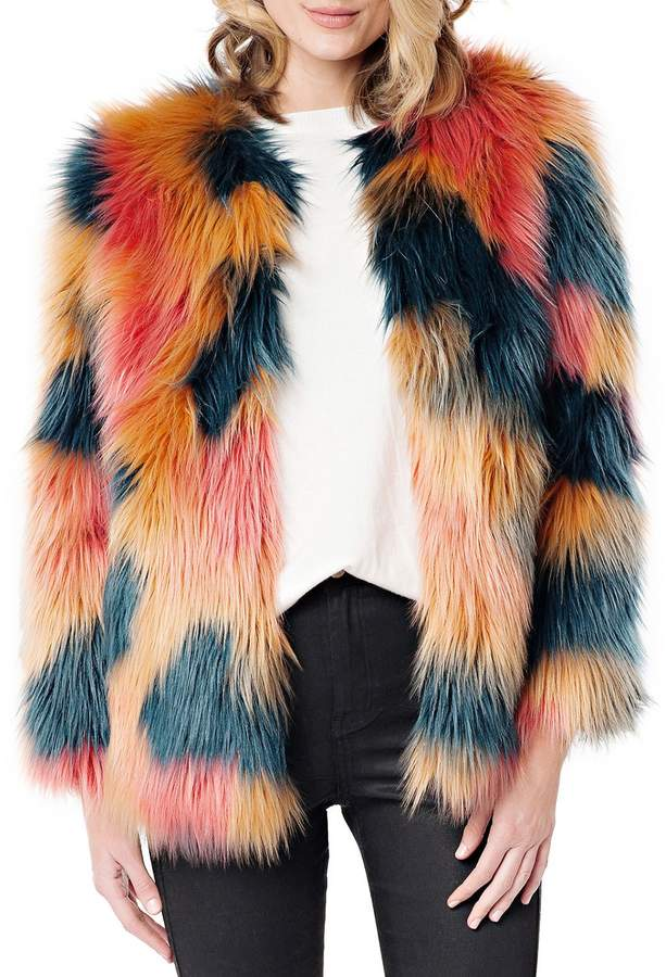 Fabulous Furs Cosmopolitan Multicolor Faux Fur Coat
