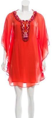 Trina Turk Silk Embroidered Mini Dress