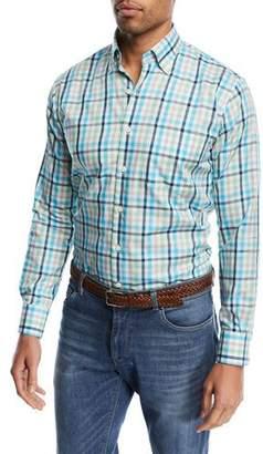 Peter Millar Crown Ease Kohala Check Shirt, Bright Blue